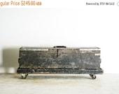 SALE wooden tool box, wood box, wood tool box, wooden storage box, large wooden toolbox with custom platform on casters, primitive, vintage
