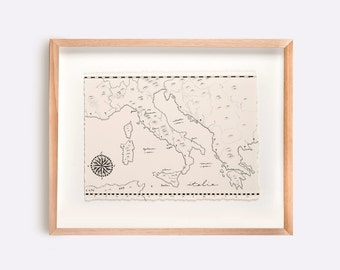 Italy Map Illustration Print