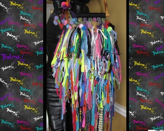 Upcycled Bag,Fringe Handbag,rhinestones,sparkle,Rag, Scrap,Custom Made,One Of A Kind, Hippie,BoHo,Funky,Purse,Tote