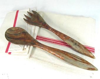 Set of 2 hand carved wooden utensils, wood salad serving set, vintage kitchenware, French country decor, boho home deco.