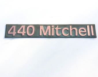 """Copper House Address Plaque, 3"""" number or letters, polished, laquered and patinated in Antigoni font g"""