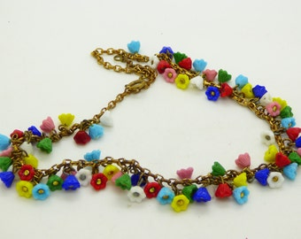 Estate Multicolored Glass Flower Necklace