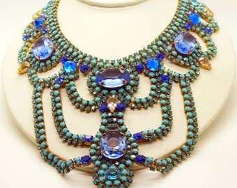 Blue Czech Glass Statement Necklace and matching Clip Earrings