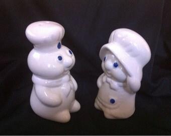 Vintage 1988 Ceramic Poppin' Fresh & Poppie Fresh Salt and Pepper Shakers