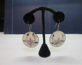 Vintage Mexican Flower Earrings Abalone Shell Dangle Pierced Silver Circle