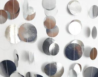 Shiny Silver Circle Garland 8 ft., Silver Anniversary, Silver Wedding Decor, Bridal Shower, Silver Party Theme, Silver Party Decor