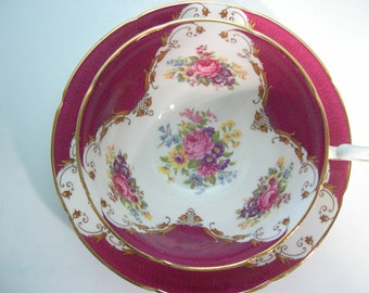 "Royal Grafton "" Burlington "" Tea Cup And Saucer, Maroon Red and Gold tea cup and saucer set, Floral Teacup."