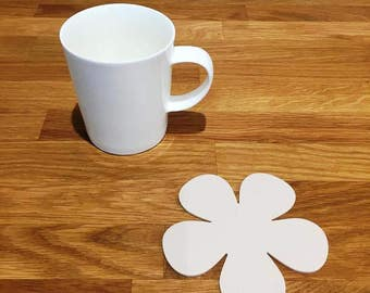 Daisy Shaped Latte Beige Matt Finish Acrylic Coasters
