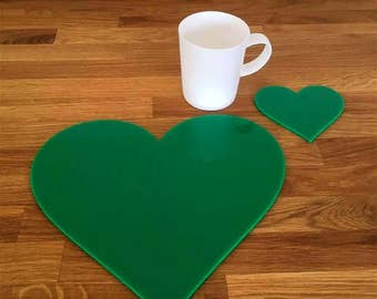 Heart Shaped Placemats or Placemats & Coasters - in Green Gloss Finish Acrylic 3mm