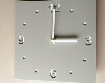 Rounded Corner Square Light Grey & White Clock - White Acrylic Back, Mat Finish Acrylic with White hands, Silent Sweep Movement