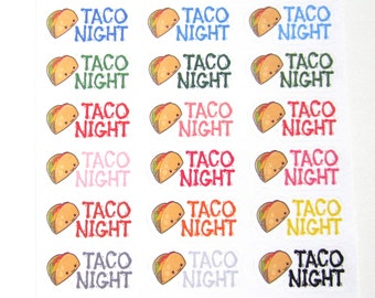 Taco Night Planner Stickers, Cute Tacos, Meal Stickers, Matte Repositionable