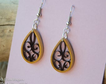 Quilled Paper Art Earrings Gold and Black Jewelry