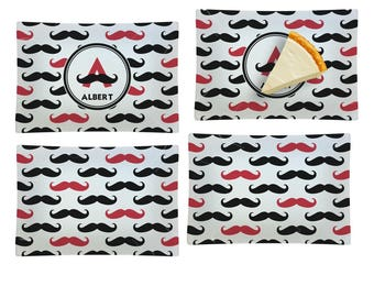 Mustache Print Set of 4 Rectangular Appetizer / Dessert Plates (Personalized)