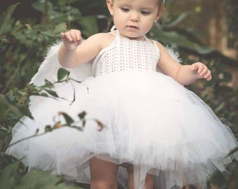 Halter tutu dress. Flower Girl Tulle Dress with Lace Stretch Crochet Bodice
