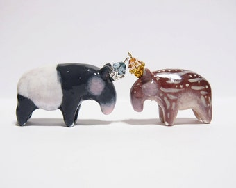 Sale - ROYALTY OF TAPIRS  - Handmade Polymer Clay Sculptures With a Swarovski Crystal