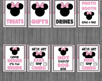 ON SALE!!  Mouse Birthday Sign Package,  Pink