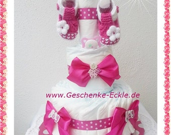 Nappy cakes diaper cake pink baby shoes