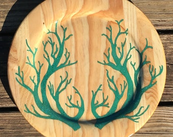 Natural Turquoise & Malachite inlay platter/plate Deer Anlers, Branches Nature Flora and Fauna Art