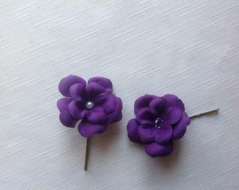 Purple Hair Pins 2 Flower Hair Pins Wedding Hair Pins Prom Hair Pins - Set of 2