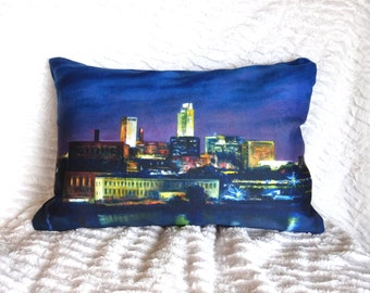 Custom 'Omaha Cityscape' pillow from my oil painting.