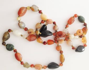 Necklace - long bead necklace retro design green and amber marbled plastic beads