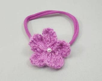 Soft Knit Flower headband with pearls