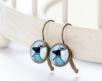 Deer Earring   Brass   French Earwires Hook   Earrings in metal brass with image under glass