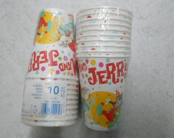 10 Party Paper Cups ''Tom and Jerry Cake''-birthday/table decor/themed party/cat/mouse/made in Italy.