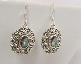 Mystic Topaz Earrings 925 Solid Silver