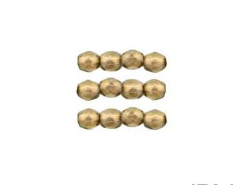 HALO LINEN: 3mm Faceted Round Firepolish Czech Glass Beads (50 beads per strand)
