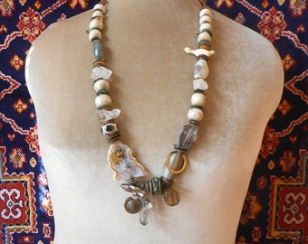 White Dove Art to wear bead collection necklace, beautiful artisan glass and stone