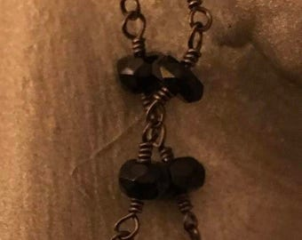 Black Onyx Beaded Chain Earrings