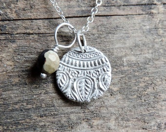 Sterling Silver, Black & White Jasper Medallion Paisley Talisman | Hand Stamped Charm | Unique Brushed Necklace Pendant, OOAK, Ready to Ship
