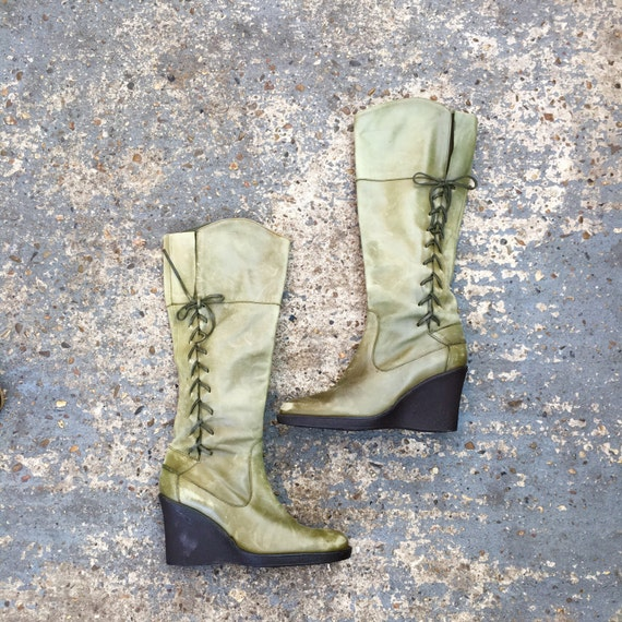 90's wedge boots / olive green leather boots / wedge heel boots / pair of green soft leather boots / wedge heel UK size 6.5