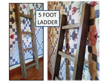 Reclaimed Wood Towel Blanket 5 FOOT Ladder NO Shelf Bath Kitchen Nursery Leaning Wall Organizer Rustic Cabin Farmhouse Cottage Home Decor