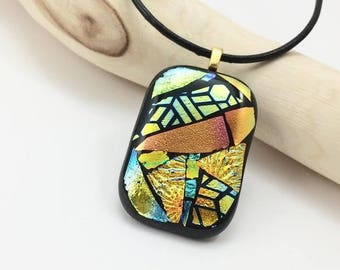 Fused Glass Pendant, Fused Glass Necklace, Dichroic Glass Pendant, Fused Glass Jewelry, Dichroic Glass Necklace, Glass Pendant