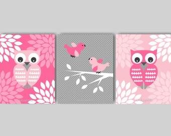 Baby Girl Nursery Art, Owl Wall Art, Owl Nursery, Woodland Nursery Art, Pink Nursery Art, Pink and Gray Nursery, CHOOSE COLORS OW1511