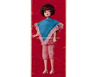 Sindy Doll clothes pattern dolls clothing poncho tunic trousers pants knickerbockers pedal pushers Vintage Knitting PDF 597 from WonkyZebra