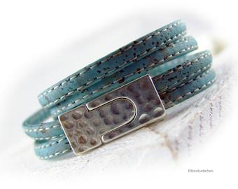 Damen Kork Leder Armband Wickelarmband blau petrol türkis silber vegan  - Geschenk für Sie beste Freundin Mutter Ehefrau Schwester Holz