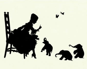 Silhouette Girl reading to Elephant Babies Art Print SMALL Victorian Steampunk Nursery Baby Shower