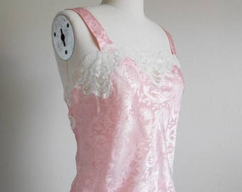 30% SALE - 80s vintage lingerie - pink camisole cream lace - 80s Gwen camisole