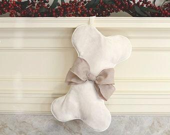 SHIPS FAST! Christmas dog stocking, ivory bone-shaped pet stocking, customizable holiday stocking