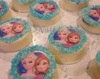12 FROZEN theme Chocolate Covered OREOs, edible image cookies, Anna & Elsa