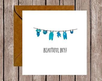 Beautiful Boy Baby Washing Line Card