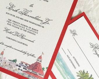 Hotel Del Coronado Wedding Invitations / San Diego Wedding Invitations