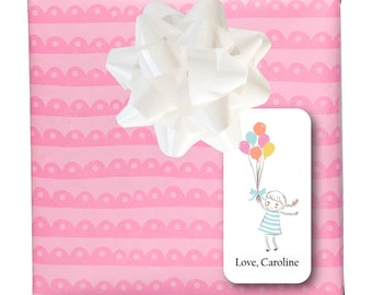 """Birthday Gift Sticker Labels-2""""x4"""" Girl with Balloons"""