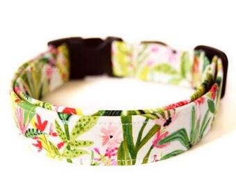 Tropical Dog Collar, Summer Dog Collar, Designer Dog Accessories, Modern Pet Accessories, Adjustable Collar, Summer Dog Collar, Nickel Brass