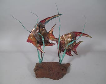 Enamel on Copper Angel Fish Sea Nautical Sculpture on Driftwood Bovano Style