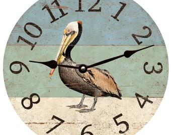 Pelican Beach Clock- Beach Themed Wall Clock