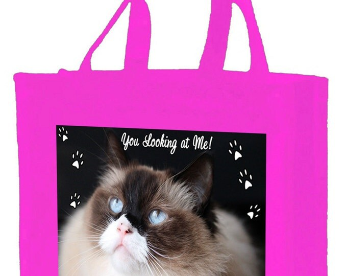Ragdoll Cat Cotton Shopping Bag with gusset and long handles, 3 colour options